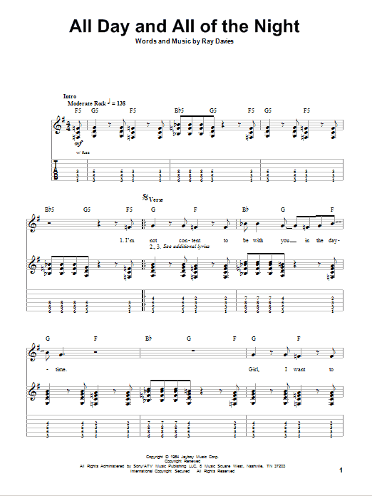Tablature guitare All Day And All Of The Night de The Kinks - Playback Guitare