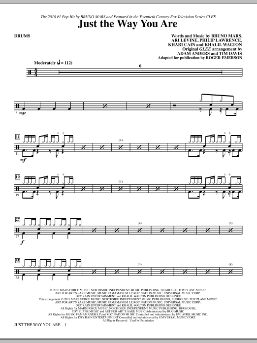 Just The Way You Are Drums Sheet Music Direct