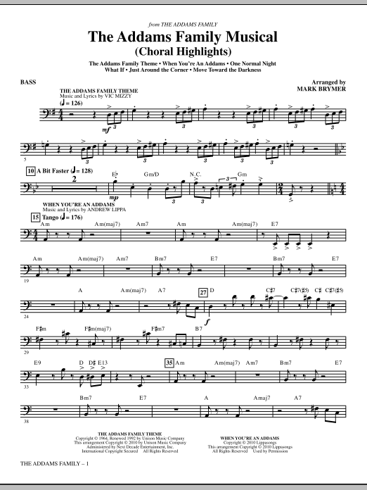 The Addams Family Musical (Choral Highlights) - Bass (Choir Instrumental Pak)