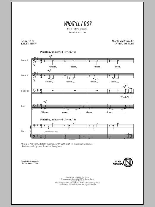 What'll I Do (TTBB Choir)