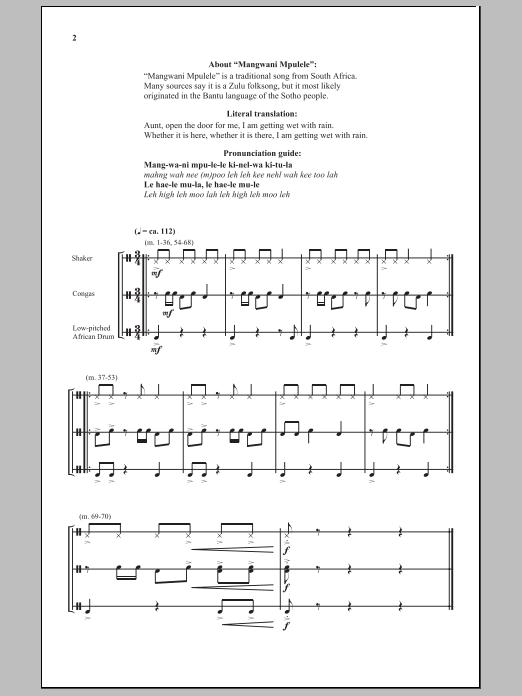 Mangwani Mpulele Sheet Music
