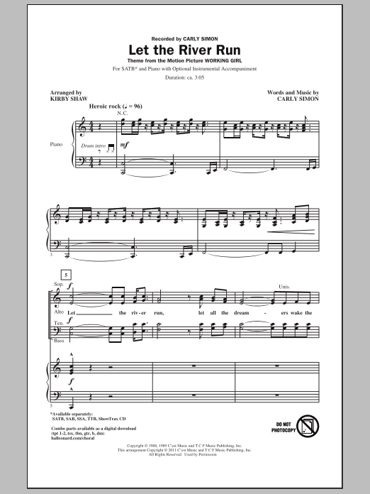 Let The River Run (SATB Choir)