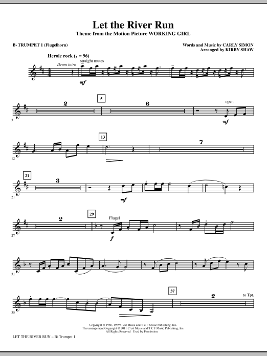 Let The River Run (complete set of parts) sheet music for orchestra/band (chamber ensemble) by Kirby Shaw and Carly Simon. Score Image Preview.