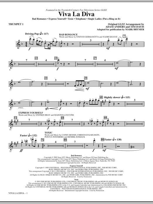 Viva La Diva! (Medley featuring Songs from Glee) (complete set of parts) sheet music for orchestra/band (chamber ensemble) by Mark Brymer, Adam Anders, Glee Cast and Miscellaneous. Score Image Preview.