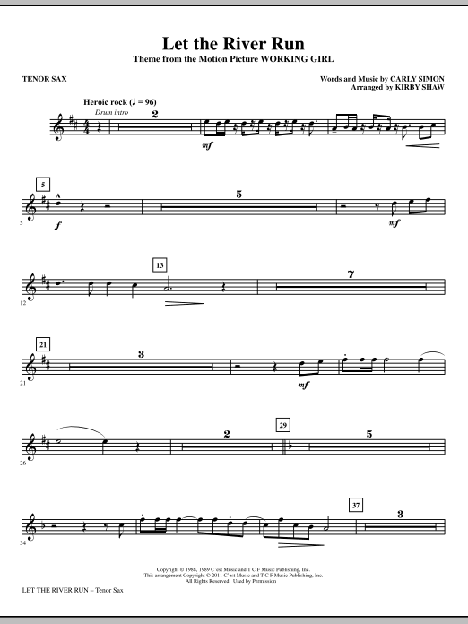 Let The River Run - Tenor Sax (Choir Instrumental Pak)