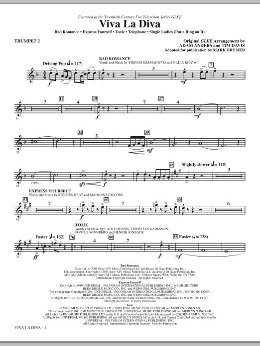 Viva La Diva! (Medley featuring Songs from Glee) - Trumpet 2 Sheet Music