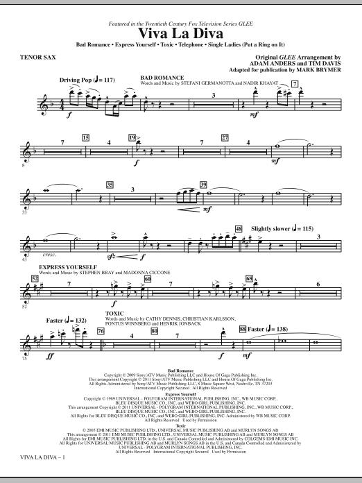 Viva La Diva! (Medley featuring Songs from Glee) - Tenor Sax Sheet Music