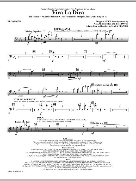 Viva La Diva! (Medley featuring Songs from Glee) - Trombone (Choir Instrumental Pak)