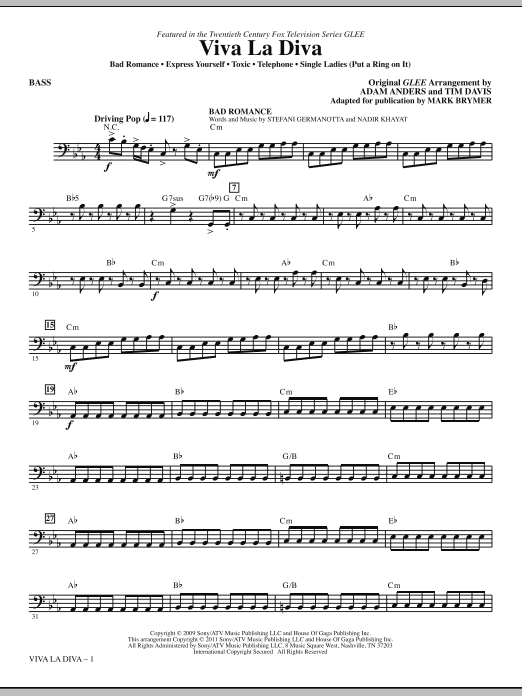 Viva La Diva! (Medley featuring Songs from Glee) - Bass Sheet Music