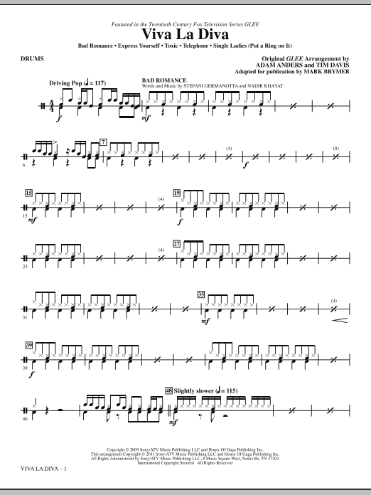 Viva La Diva! (Medley featuring Songs from Glee) - Drums Sheet Music