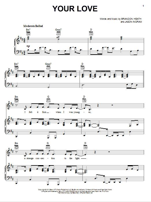 Partition piano Your Love de Brandon Heath - Piano Voix Guitare (Mélodie Main Droite)