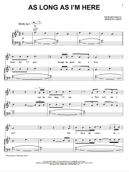 As Long As I'm Here Sheet Music