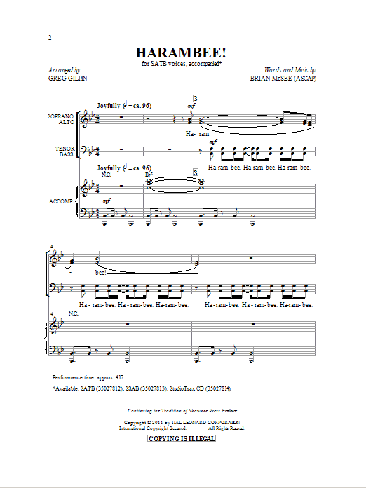 Partition chorale Harambee! de Greg Gilpin - SATB
