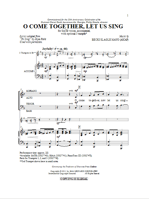 O Come Together, Let Us Sing Sheet Music