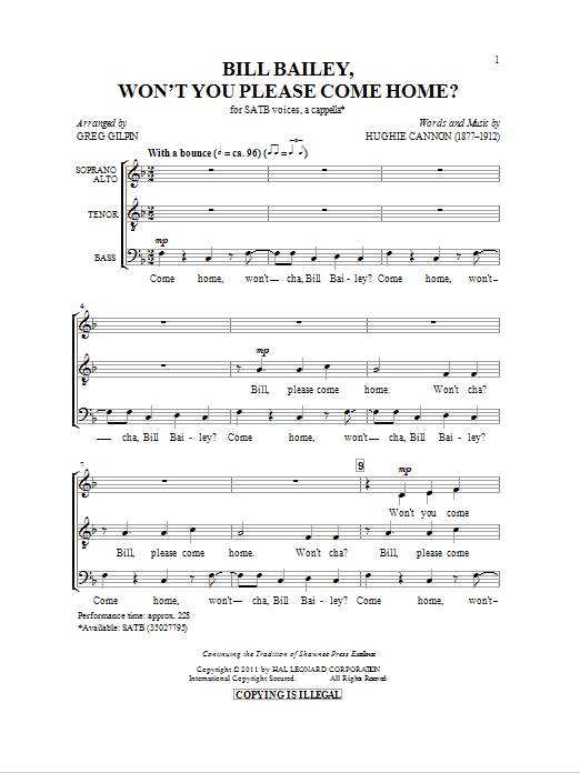 Partition chorale Bill Bailey, Won't You Please Come Home de Greg Gilpin - SATB