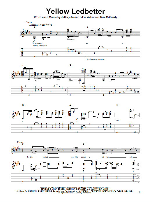 Guitar yellow guitar chords : Yellow Ledbetter | Sheet Music Direct