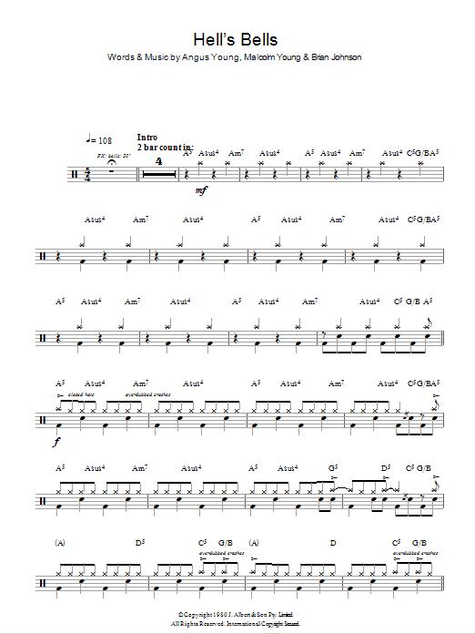 AC/DC - Hells Bells (Drums) atStanton's Sheet Music