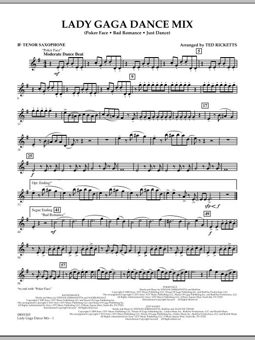 Lady Gaga Dance Mix - Bb Tenor Saxophone (Concert Band)