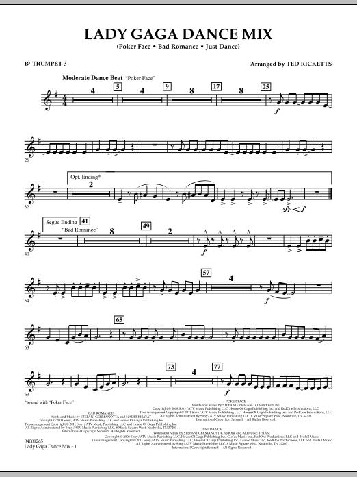 Lady Gaga Dance Mix - Bb Trumpet 3 (Concert Band)