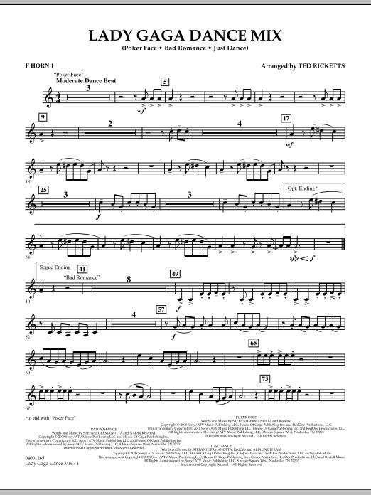 Lady Gaga Dance Mix - F Horn 1 (Concert Band)