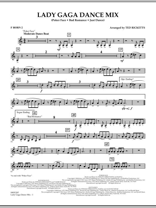 Lady Gaga Dance Mix - F Horn 2 (Concert Band)
