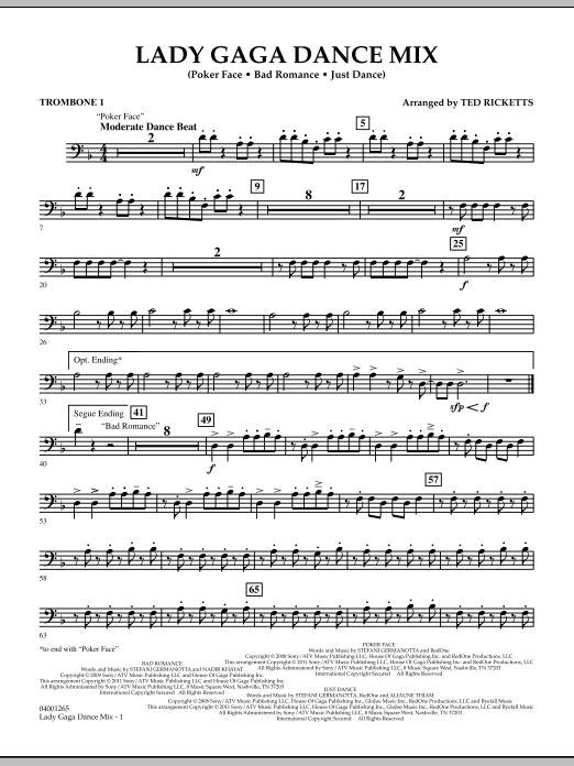 Lady Gaga Dance Mix - Trombone 1 (Concert Band)