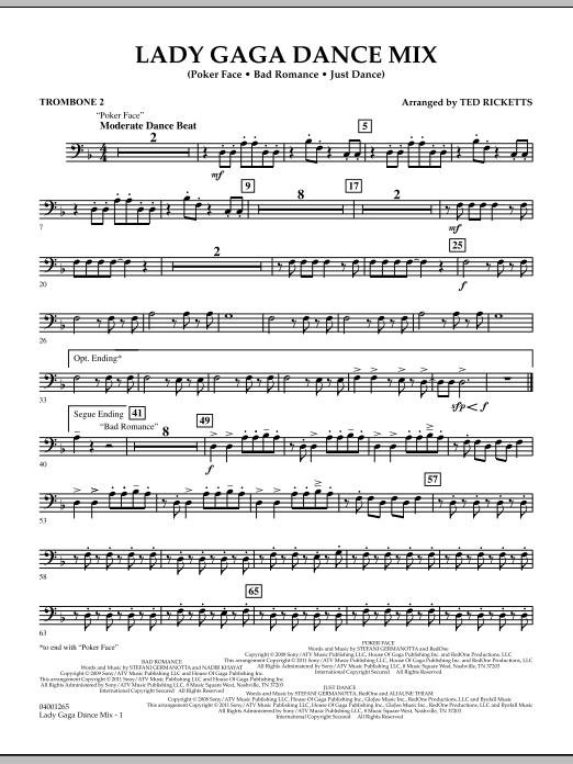 Lady Gaga Dance Mix - Trombone 2 (Concert Band)