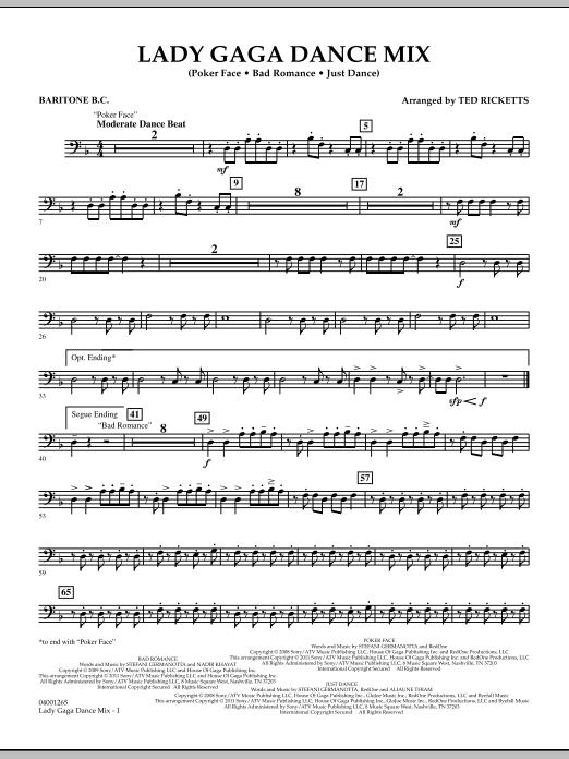 Lady Gaga Dance Mix - Baritone B.C. (Concert Band)