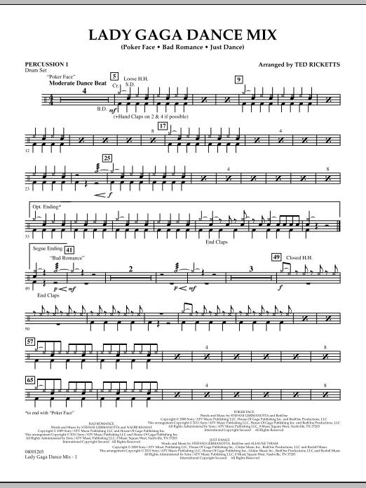 Lady Gaga Dance Mix - Percussion 1 (Concert Band)