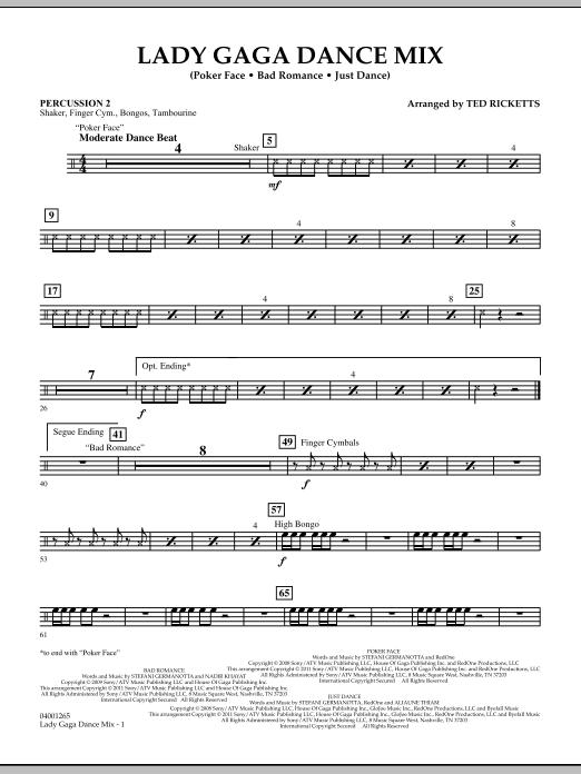 Lady Gaga Dance Mix - Percussion 2 (Concert Band)