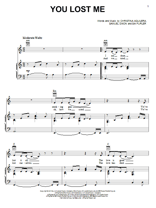 You Lost Me Sheet Music
