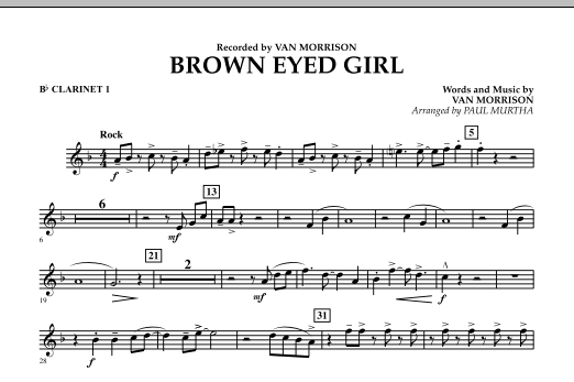 Brown Eyed Girl - Bb Clarinet 1 (Concert Band)