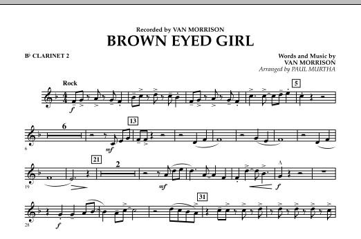 Brown Eyed Girl - Bb Clarinet 2 (Concert Band)