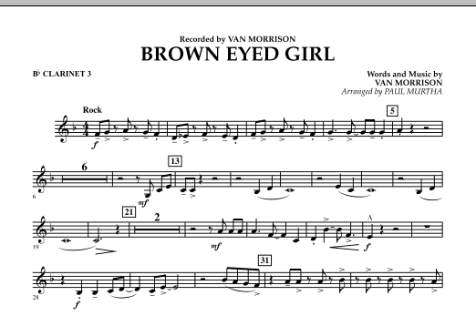 Brown Eyed Girl - Bb Clarinet 3 (Concert Band)
