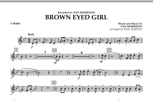 Brown Eyed Girl - F Horn (Concert Band)