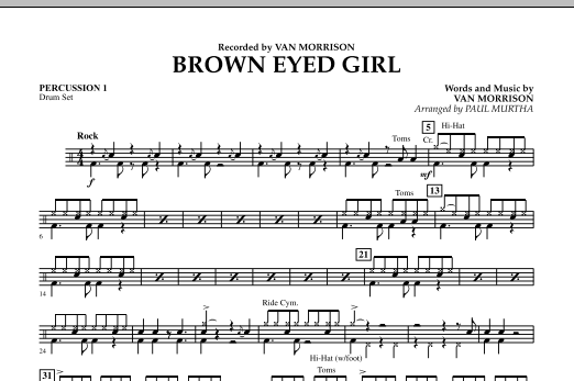 page one of Brown Eyed Girl - Percussion 1ASALTTEXT