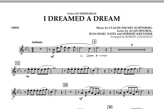 I Dreamed A Dream (from Les Miserables) - Oboe (Concert Band)