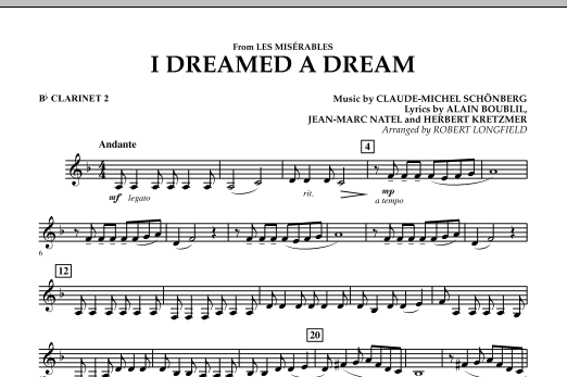 I Dreamed A Dream (from Les Miserables) - Bb Clarinet 2 (Concert Band)