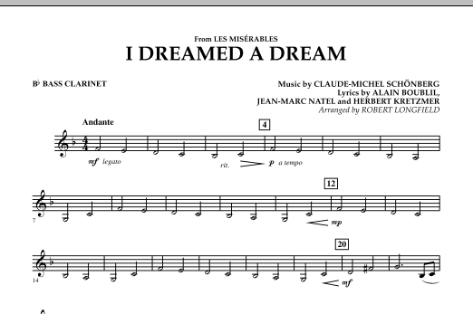 I Dreamed A Dream (from Les Miserables) - Bb Bass Clarinet (Concert Band)