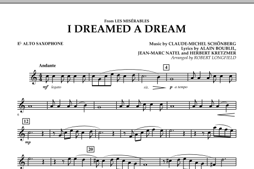 I Dreamed A Dream (from Les Miserables) - Eb Alto Saxophone (Concert Band)