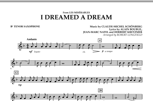 I Dreamed A Dream (from Les Miserables) - Bb Tenor Saxophone (Concert Band)