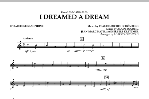 I Dreamed A Dream (from Les Miserables) - Eb Baritone Saxophone (Concert Band)