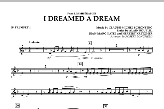 I Dreamed A Dream (from Les Miserables) - Bb Trumpet 1 (Concert Band)