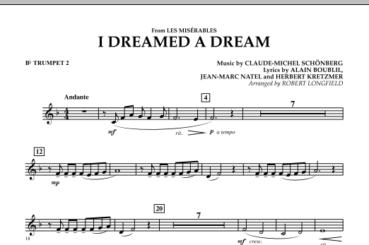 I Dreamed A Dream (from Les Miserables) - Bb Trumpet 2 (Concert Band)