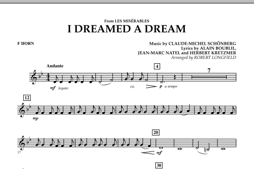 I Dreamed A Dream (from Les Miserables) - F Horn (Concert Band)