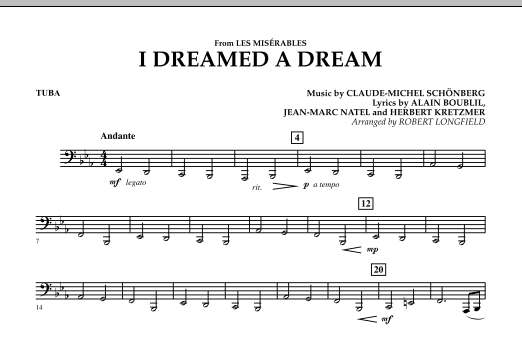 I Dreamed A Dream (from Les Miserables) - Tuba (Concert Band)
