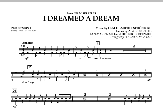 I Dreamed A Dream (from Les Miserables) - Percussion 1 (Concert Band)