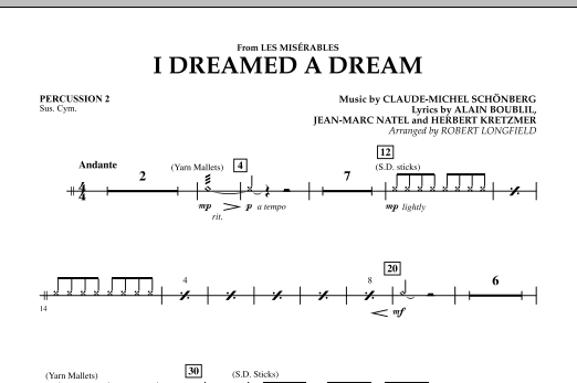 I Dreamed A Dream (from Les Miserables) - Percussion 2 (Concert Band)