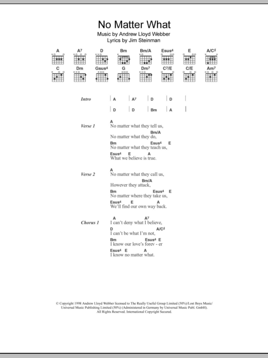 No Matter What by Boyzone - Guitar Chords/Lyrics - Guitar Instructor