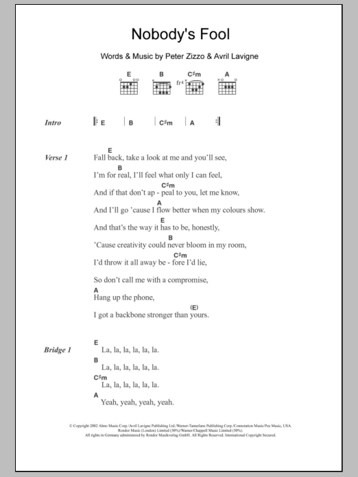 Nobody\'s Fool by Avril Lavigne - Guitar Chords/Lyrics - Guitar ...